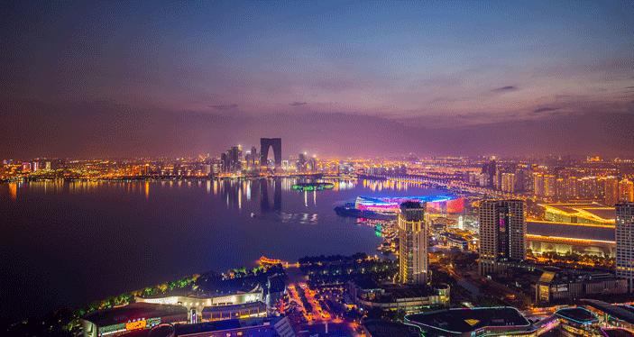 China Suzhou city nightime