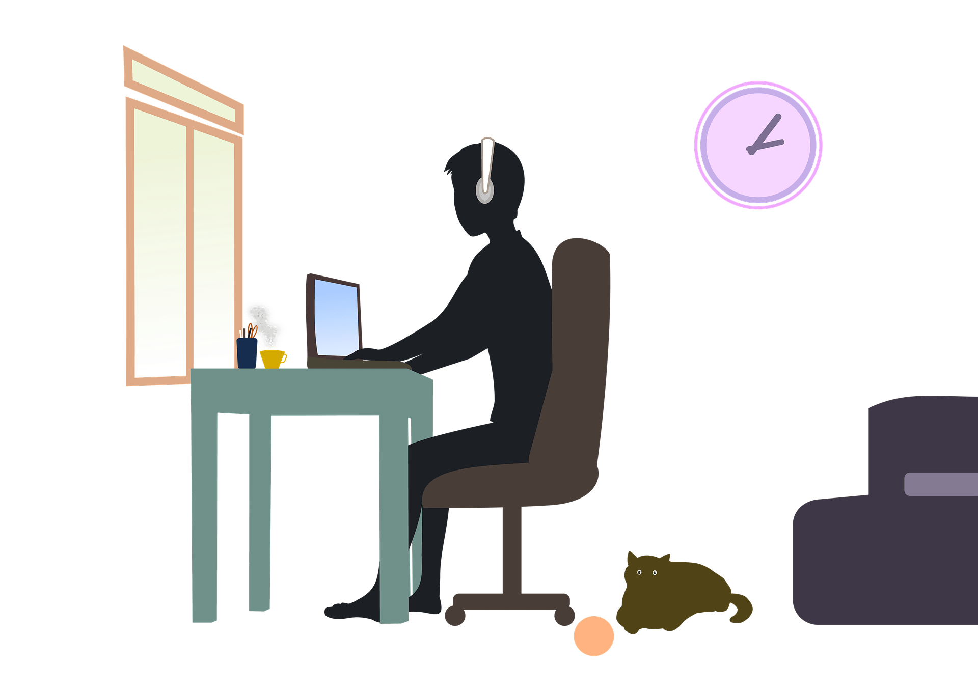 Graphic of someone working from home