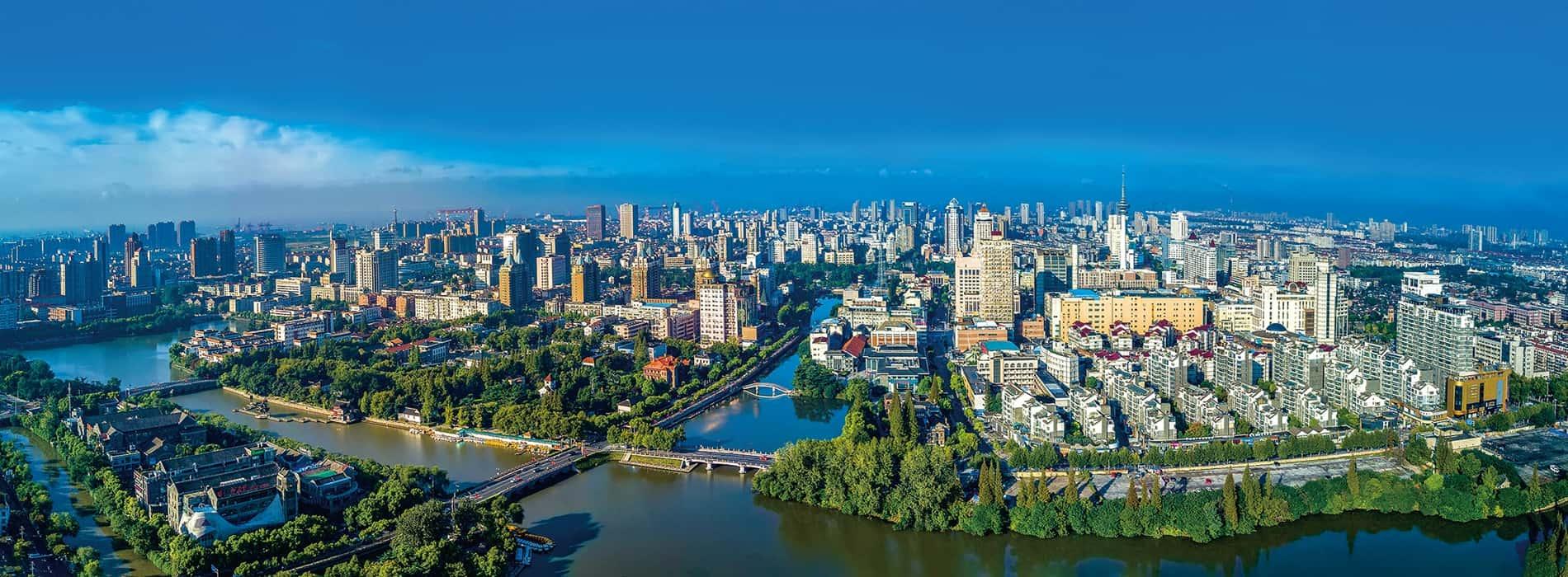 Nantong city aerial view