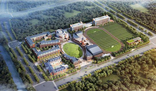 Aerial view of rendered school