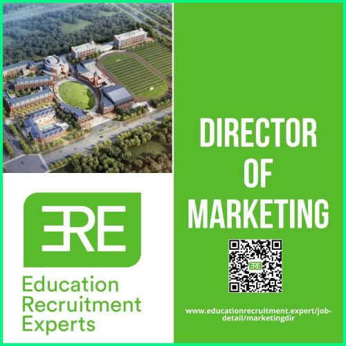 Aerial photo of school Marketing Director title with WeChat QR code and website address